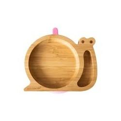 Plato bambú caracol Rosa...